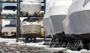 Boats on the hard in winter.